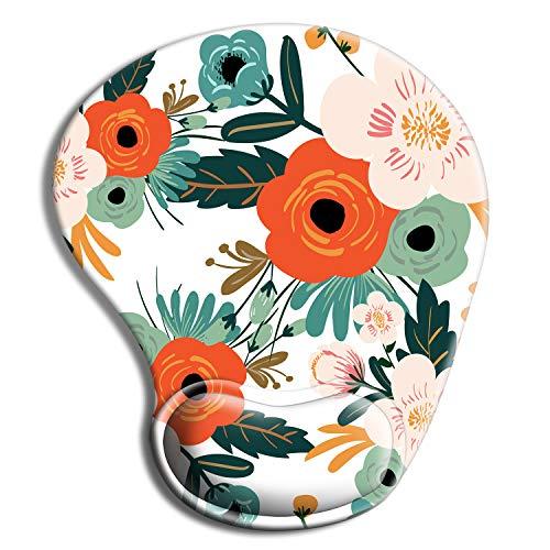 iDonzon Alfombrilla de ratón ergonómica con gel de soporte para muñeca, bonita almohadilla de muñeca con base de goma antideslizante, fácil de escribir y aliviar el dolor, flores