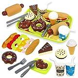 HERSITY Play Food Set DIY Hamburger Hotdog EIS Lebensmittel Spielzeug Set Küchenspielzeug für Kinderküche Spielküche Zubehör Rollenspiele Pädagogisches Spielzeug Geschenk für Jungen und Mädchen