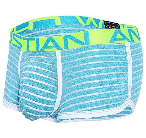 Andrew Christian Herren Boxershorts Aqua Sheer Stripe Boxer w/Almost Naked 91388, blau S