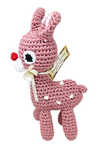 PETFLY Dog Teeth Cleaning Cotton Crochet Squeaky Dog Toy for Small Dog - Little Bambi