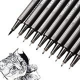 Bolígrafos de punta fina negra, 10 unidades de diferentes pigmentos, resistentes al agua, para bocetos artísticos, dibujos, dibujo técnico, ilustración, cómics y uso escolar