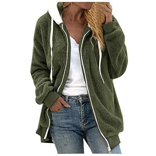 Darringls Cappotto di peluche da donna, con cappuccio, per ragazze, rosa, verde, inverno, autunno, in pile, cappotto invernale in pile, Verde G, XXXL