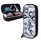 Yuanmeiju Penguin Cute Pen Estuche Leather 8 X 3.5 X 1.5 Inch Big Capacity Double Zippers Pencil Pouch Bag Pen Holder Box for School Office Girls Boys Adults