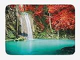 Alfombra de bienvenida personalizada Waterfall Nature Single River in Corner of The Deep Forest Fair Fall Oak Trees de 61 x 40 cm, antideslizante para interiores y exteriores, decoración del hogar
