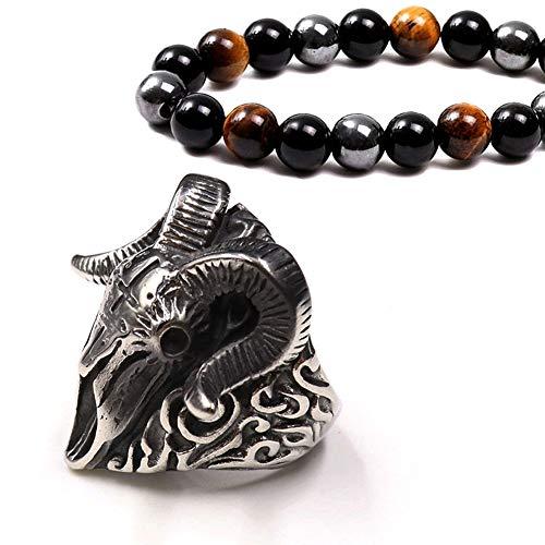 Men's Pure Color Ring, Norse Mythology Sheep Head Stainless Steel Cross Ring, Retro Warrior Locomotive Finger Ring, Bracelet Gift Set,Silver,14