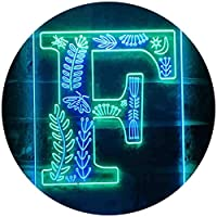 Letter F Initial Monogram Family Name Dual Color LED看板 ネオンプレート サイン 標識 緑色 + 青色 300 x 400mm st6s34-i3443-gb