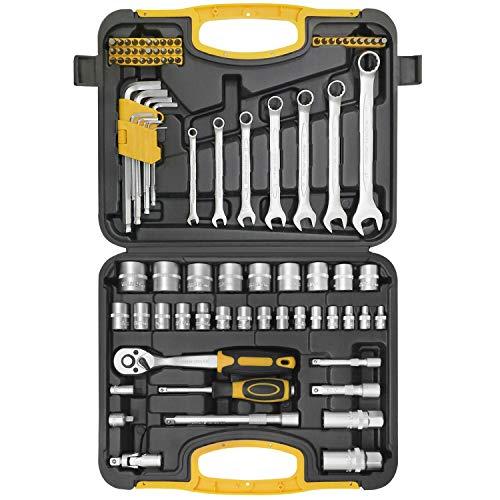 WZG 90-teilig Steckschlüsselsatz mit Steckschlüssel Umschaltknarre, Ratsche und Ringmaulschlüssel 3/8'',Werkzeugkoffer, Werkzeug-Set
