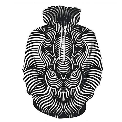 HOSD Blancas 3D impresión Negras y Rayas de Tridimensional Patrón suéter león suéter Caballo con otoño Chaqueta Pareja de Capucha