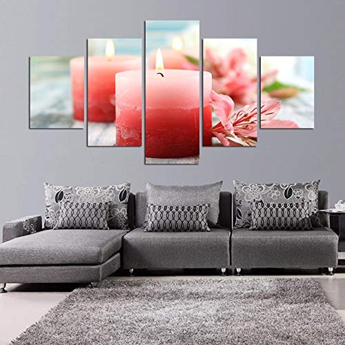 Nobrand 5 stuks licht kaarsen bloempotten druk op canvas olieverfschilderij schilderijen voor woonkamer schilderij -30x40 30x60 30x80 cm zonder lijst