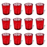 PMLAND Speckled Red Mercury Glass Votive Candle Tealight Holders - Bulk Pack of 12