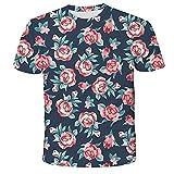 Unisex Camiseta,Camisa Holgada De Manga Corta con Estampado Digital 3D De Flores De Verano para Hombres Y Mujeres-3Xl