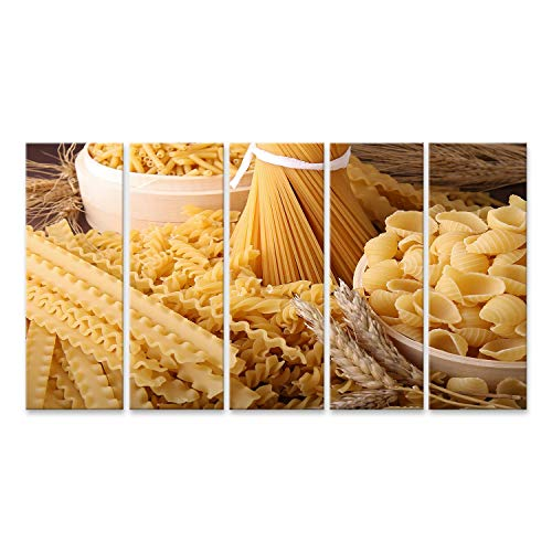 islandburner Bild auf Leinwand Ungekochte Nudeln Spaghetti Makkaroni und Tortellini Bilder Wandbild Poster Leinwandbild GBPH