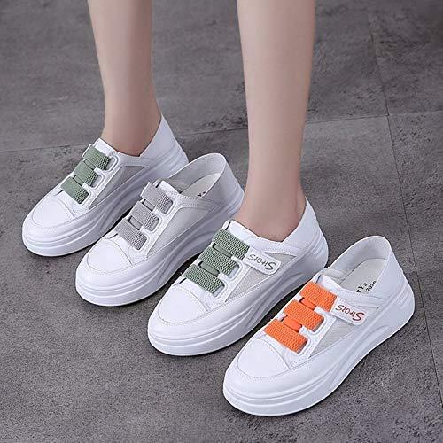 PMSMT 2020 nuevos Zapatos Rojos de Verano para Mujer, Zapatos Deportivos y de Ocio de Tendencia, versión Coreana de Las Pegatinas de Magia Salvaje, Zapatos Blancos