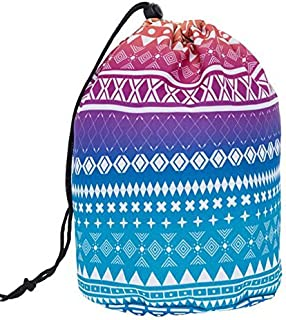 HOYOFO Travel Drawstring Closure Cosmetic Bags Makeup and Toiletries Storage Barrel Bag, Geometric Pattern