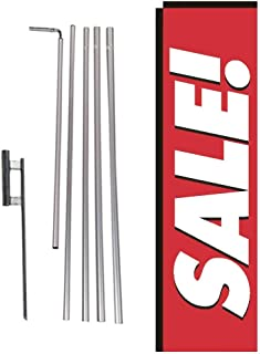 Red Sale Rectangle Feather Banner Flag with Pole Kit and Ground Spike for Outdoor Advertising, Large Signs for Businesses