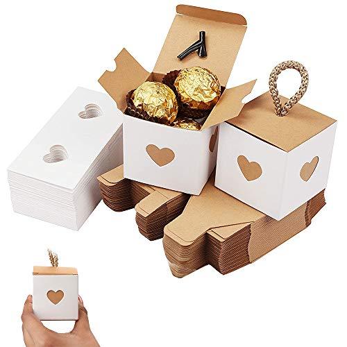 50 Piezas Caja de Dulces de Papel Kraft, Cajas Regalo de Boda, 5,5cm Plegable Papel Kraft Caja de Regalo con Ventana En Forma de Corazón para Bodas, Dulces, Chocolate, Artículos Fiestas