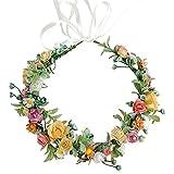 SacJkt Rose Blumen Krone, Blumen kranz Stirnband, bunter böhmischer Brautblumen Haarkranz für Hochzeit, Party