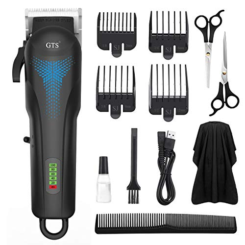 Men Hair Clippers Cordless Hair Trimmer, MIGICSHOW Beard Trimmer Haircut Grooming Kit for Men Electric Hair Cutting Kit Body Groomer 4 Adjustable Blade with 4 Guide Combs, Rechargeable LED Display
