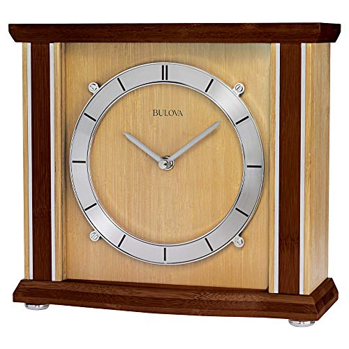 Bulova B1667 Emporia Tabletop Clock, Walnut and Natural Finish