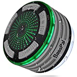 BassPal Shower Speaker Waterpoof IPX7, Portable Wireless Bluetooth Speakers with Radio, Suction Cup & LED Mood Lights, Super Bass HD Sound Perfect Pool, Beach, Bathroom, Boat, Outdoors (02.Gray)