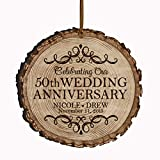 """LifeSong Milestones Personalized 50th Anniversary Bark Style Christmas Ornament for 50 Years of Marriage - Fifty Year Wedding Keepsake Gift for Parents Husband Wife him her 3.25"""" (Bark)"""