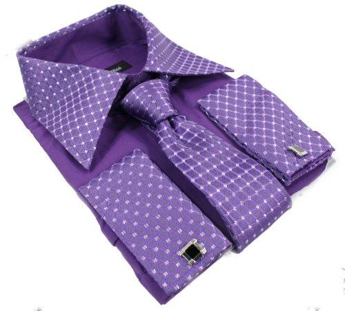 The Gorgeous 1 Chemise Homme Violette avec cravatte Boutons de Manchette et Pochette Tissu Brillant …