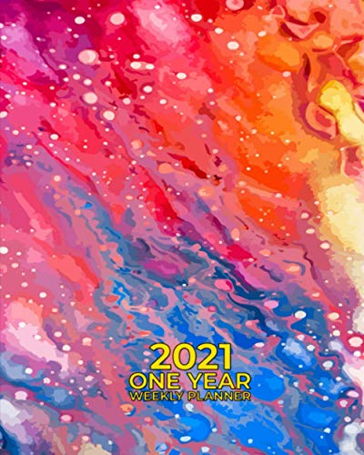 2021 One Year Weekly Planner: Vintage Hippie Tie Dye   Trippy Colorful Pattern   Annual Calendar   P