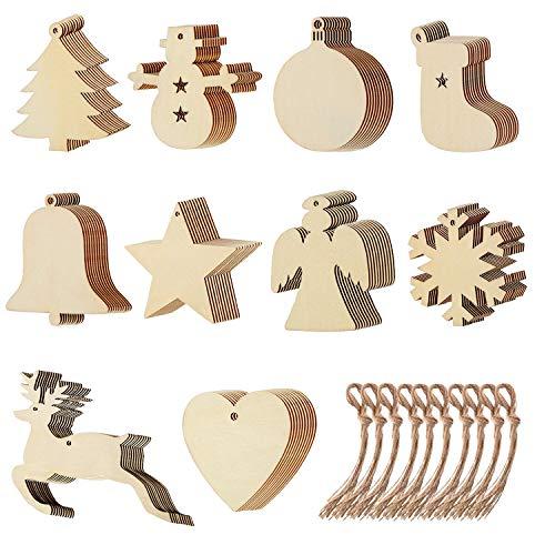 Viccess 100pcs Adornos del árbol de Navidad de Madera Adorno Colgante Navidad Decoración de Navidad para Copo de Nieve Estrella y Renos Navidad árbol de Fiesta decoración