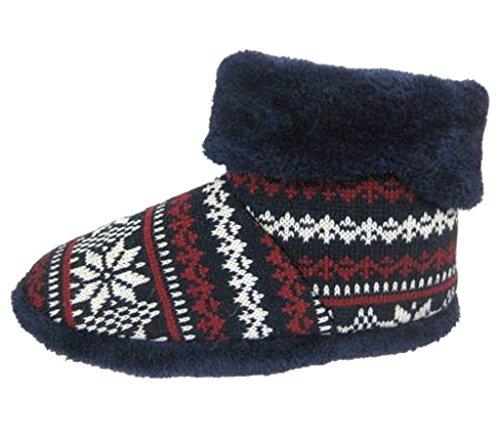 unlop Boot - Zapatillas de estar por casa de Tela para hombre, color azul, talla 41/42