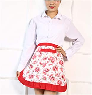 CRB Fashion Waist Apron Pocket Commercial Restaurant Waitress for Girl Woman Half Bistro Aprons (Red Flower)