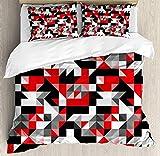 Rote und schwarze Bettbezug-Set Twin Größe, abstrakte geometrische halbe Dreiecke Quadrate Labyrinth inspiriert Bild, dekorative 2-teiliges Bettwäscheset mit 1 Kopfkissenbezug, Anthrazitgrau und Weiß