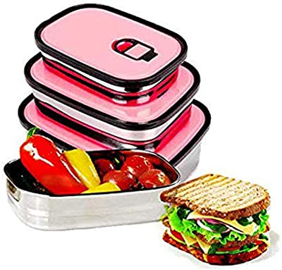 ZeerKeer Food Containers 3 Pieces Lunchbox Stainless Steel Leakproof BPA-Free Food Container Set for Food Storage,Lightweight, Durable, Leak Proof Lunch Box (Red)