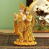 TIED RIBBONS Escultura de Estatua de ídolo Radha Krishna chapada en Oro (19 x 11 x 11 cm) - Elemento de decoración de la habitación |Multicolor|Estándar