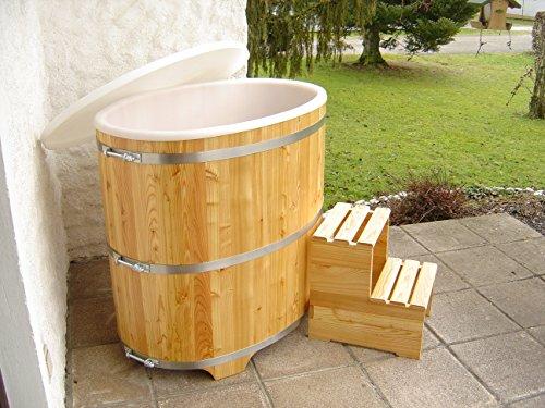 Achleitner Sauna Tauchbecken aus Lärchenholz mit Kunststoffeinsatz und Kunststoffdeckel