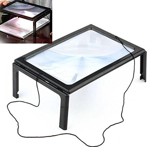 handen vrij voor uitstapjes type 3 x vergrootglas 4 LED licht verlicht vergroot grote glazen lens volledige kant lezen met inklapbare poten en halskabel voor iPad krant tijdschrift