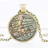 MGBDXG Co.,Ltd Halskette Vintage Erde Weltkarte Anhänger Cabochon Anhänger Mode Ovale Kette Kragen...