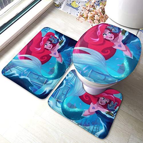 Ariel Bathroom Rug, Non Slip Bath Mat + U-Shaped Contour Rug + Toilet Lid Cover Set 3 Piece