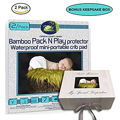"ORGANIC BAMBOO by Green Comfy Baby WATERPROOF 3 layers mini-crib fitted sheet playpen pad cover +6"" deep. NO CHEMICAl, HYPOALLERGENIC, The Best Playard protector"