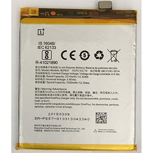 OnePlus Batteria Pila Ricambio Sostituzione Accumulatore Originale BLP657 per ONE PLUS 6 A6000 Nuova Bulk