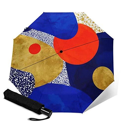 Prima a prueba de viento del paraguas, terrazo Galaxy Blue Night oro amarillo naranja de viaje plegable automático de tres paraguas plegable paraguas compacto de peso ligero Sunrain paraguas FACAI