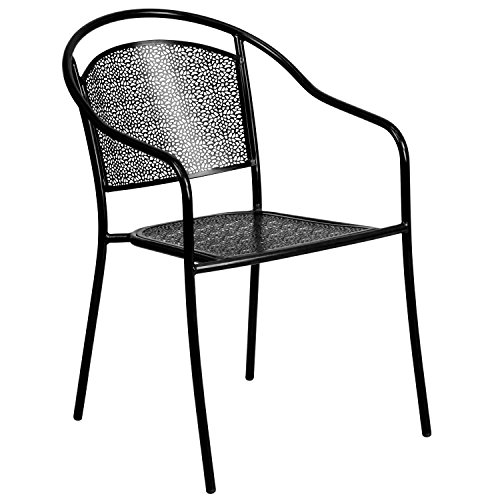 Flash Furniture Commercial Grade Black Indoor-Outdoor Steel Patio Arm Chair with Round Back