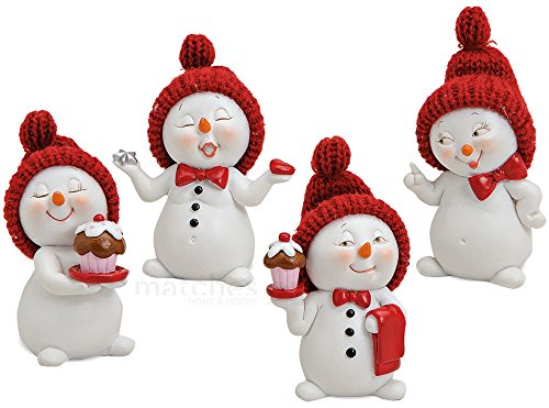 matches21 Schneemann Mädchen Winter Deko Figuren rote Strickmützen 4er Set aus Kunststoff je ca. 7 cm