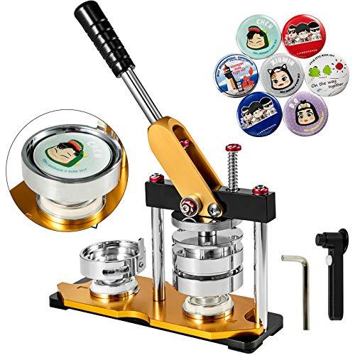 VEVOR Máquina de Botonera Insignias, 58 mm con 100 Juegos de Botones, Círculo Giratorio, Máquina de Fabricación de Insignias de Botones Redondos de Color Amarillo, con Mango Ergonómico