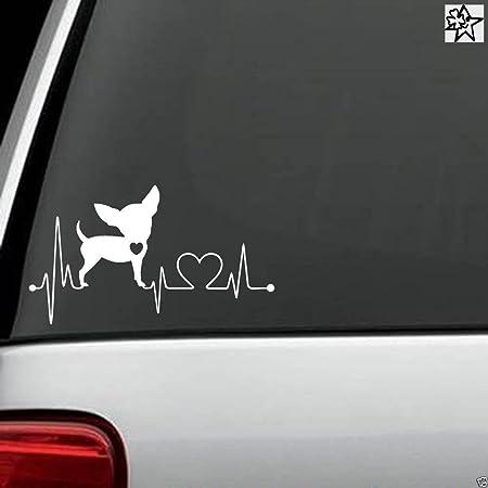 Herzschlag Aufkleber Chihuahua 20cm Sticker Herz Fan Hobby Leidenschaft Liebe Für Auto Autoaufkleber Auto