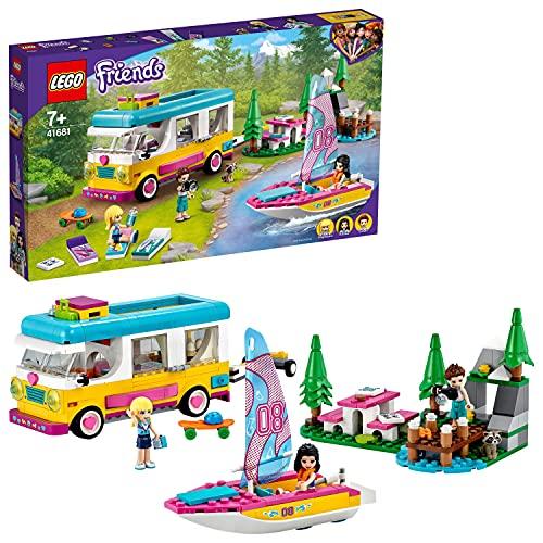 LEGO 41681 Friends Wohnmobil- und Segelbootausflug, Camping Spielzeug mit Wohnmobil und Boot