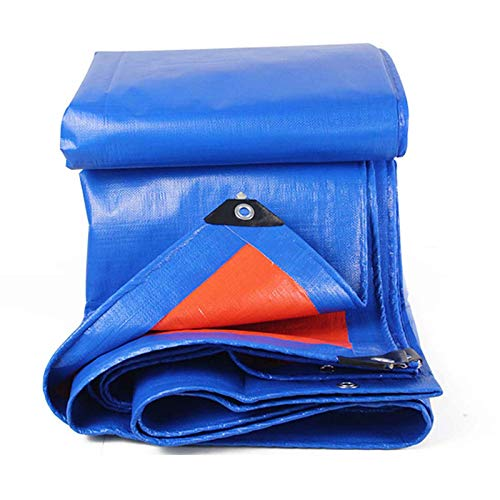 KWEE Waterproof Multi-Purpose Poly Tarp 8x12m, Blue Tarpaulin Protector, Rot, Rust and UV Resistant Protection Sheet for Cars, Boats, Construction Contractors, Campers, and Emergency Shelter