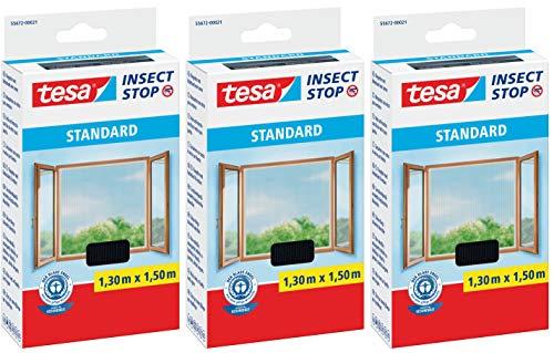 tesa Fliegengitter für Fenster, ant, 1,30 m x 1,50 m, 3 Packungen