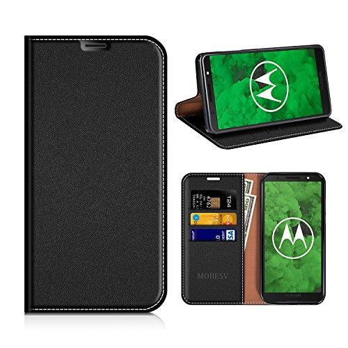 MOBESV Moto G6 Plus Hülle Leder, Moto G6 Plus Tasche Lederhülle/Wallet Hülle/Ledertasche Handyhülle/Schutzhülle mit Kartenfach für Motorola Moto G6 Plus - Schwarz