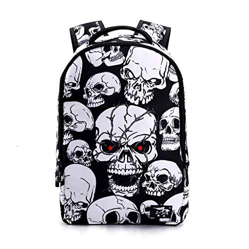 WT-DDJJK School Rucksack, Skull School Backpack 22L Bag High Middle Bookbag for Men Women Boys Girls