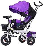 Triciclos Triciclo para bebés 1-3-6 años de edad, carrito infantil con la bicicleta IL, puede sentarse y mentir el carro de bebé con asiento giratorio de sombrilla (color: púrpura) ( Color : Purple )